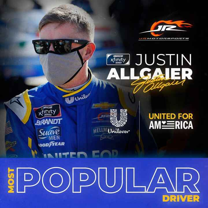 Congratulations to Justin Allgaier for his second consecutive NASCAR Xfinity Series Most Popular Driver win!